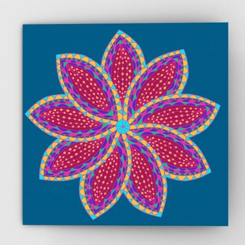 Fantastical flower greeting card, blue