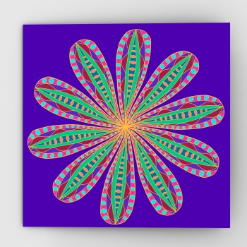 Fantastical flower greeting card, purple