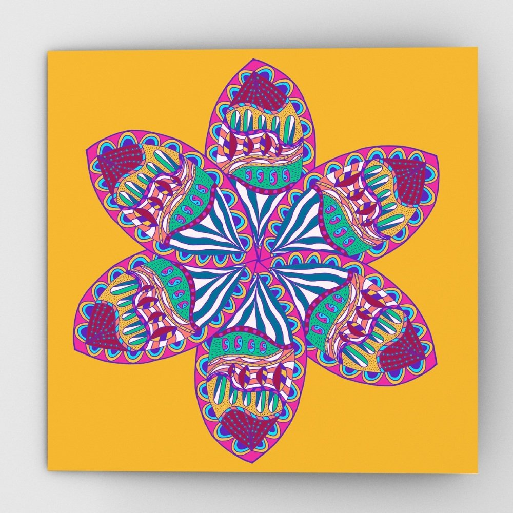 Fantastical flower greeting card, yellow