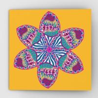 Fantastical flower greeting card, yellow
