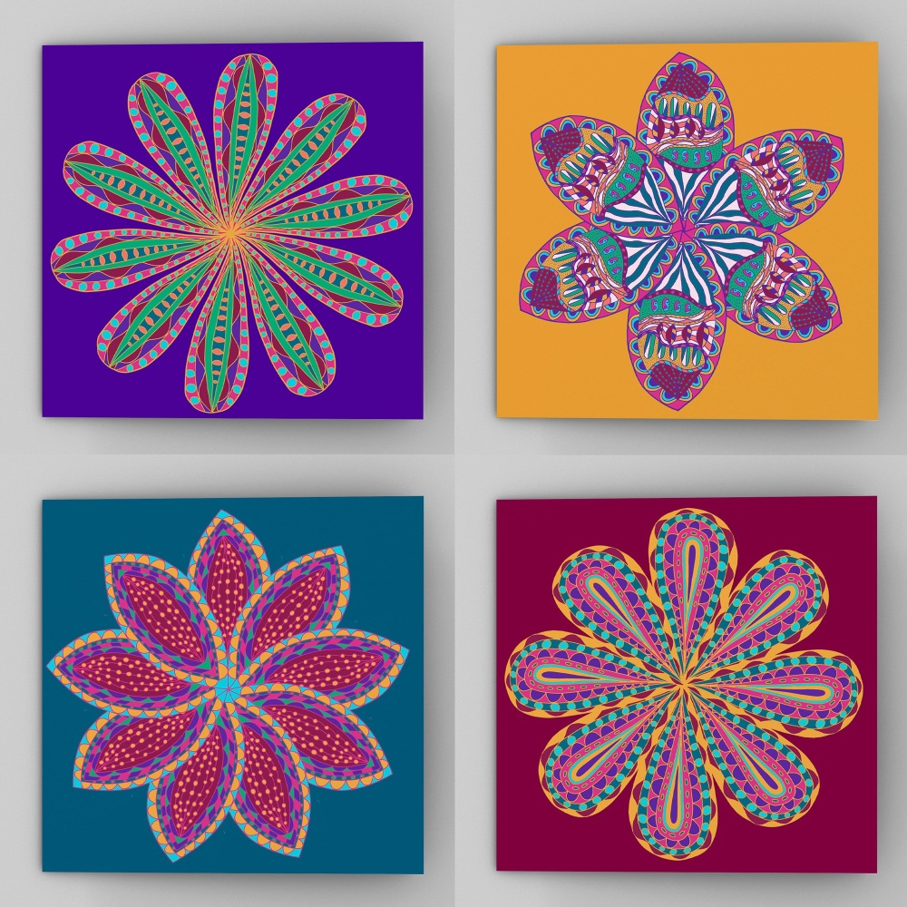 Set of four fantastical flower greeting cards