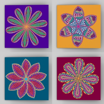 Fantastical flower greeting cards, set of four