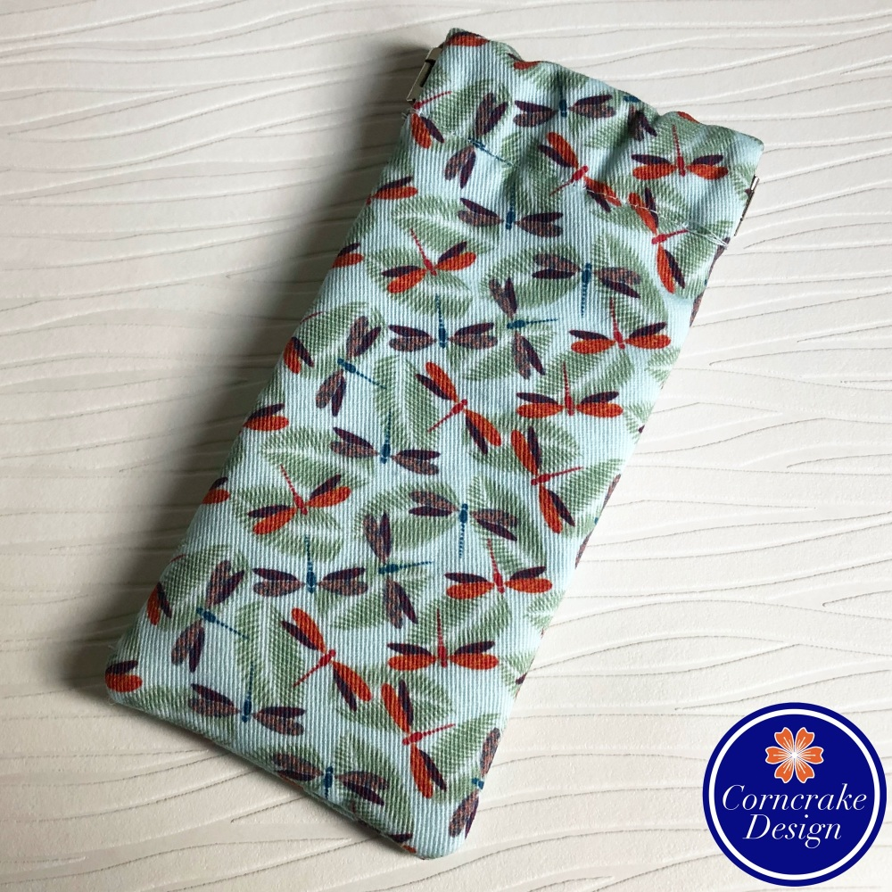 Slim 'Dashing Dragonflies' Fabric Glasses Case