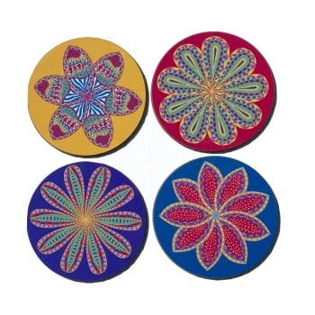 Set of four floral circular  coasters
