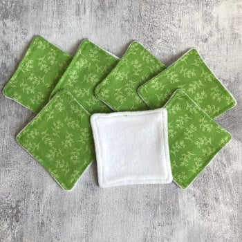 Set of seven reusable make-up remover pads with 'Sprightly Sprigs' pattern