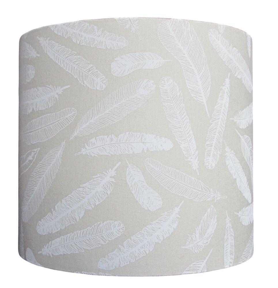 White feather lampshade - subtle showing more with light on