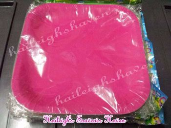 PAPER PLATES [10s, SOLID COLOR]: PINK  (SQUARE)