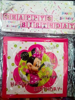 FLAG BANNER / BANDERITAS: MINNIE MOUSE (HAPPY BIRTHDAY)