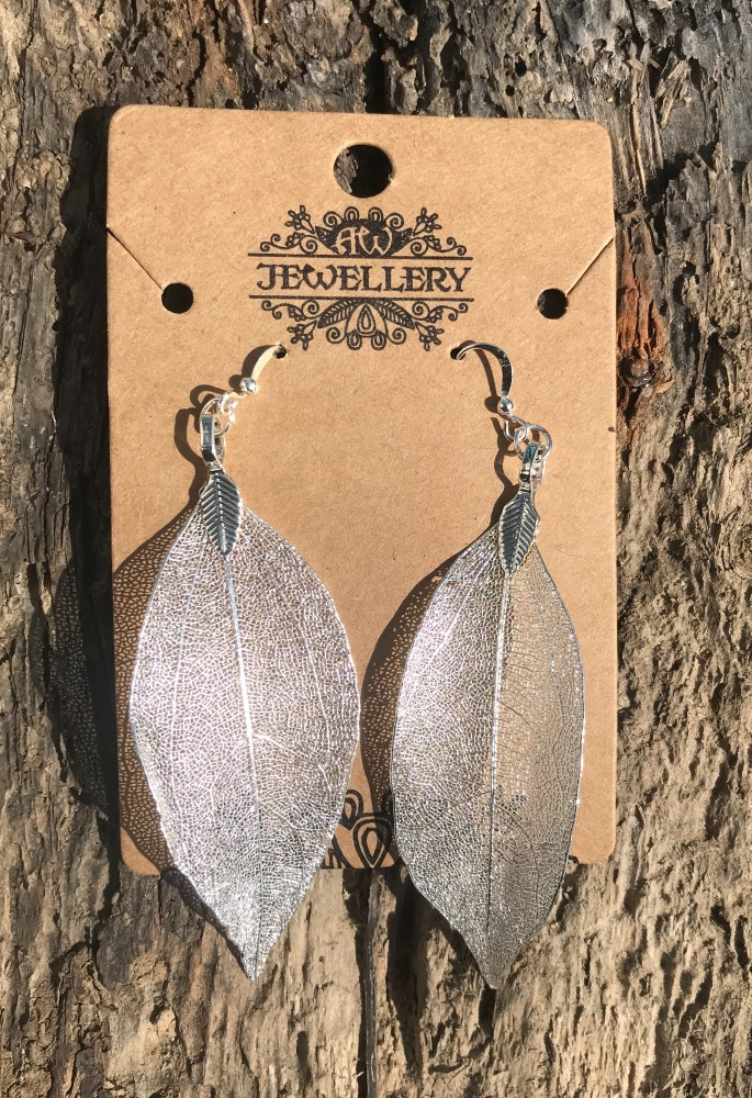 Leaf earrings - Silver colour