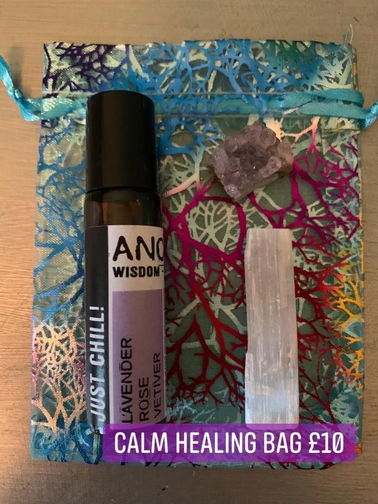🕊 Does it all feel a bit much today? Try our little bag of calm: Lavender rose and vetiver essential oil rollerball, raw selenite stick and amethyst piece, to breathe deeply, find calm and a sense of grounding in the thick of it all! 🕊 £10