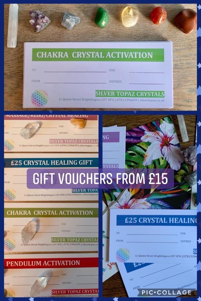 💝 We have a gorgeous range of gift cards!  Gift a treatment like massage, reiki or Indian head massage, an experience like a chakra or pendulum activation, or just let them choose from our range of crystal, jewellery and essential oil products 💝 From £15