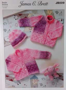 JB009 CARDIGANS AND HAT BABIES DOUBLE KNIT