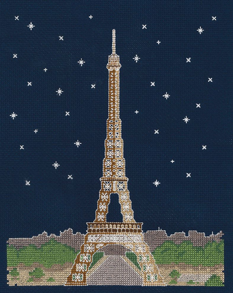 PARIS BY NIGHT COUNTED CROSS STITCH KIT GLOWS IN THE DARK !