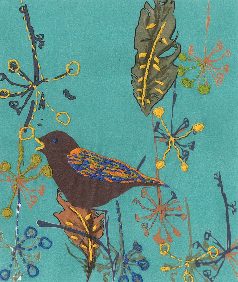 ON THE WING  PRINTED EMBROIDERY KIT OF SONG BIRD