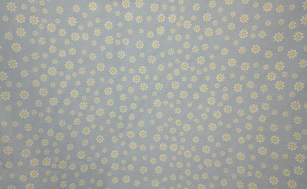 POLY-COTTON BLUE WITH WHITE FLOWER PATTERN