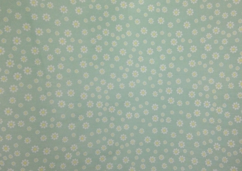 POLY-COTTON GREEN WITH WHITE FLOWER PATTERN