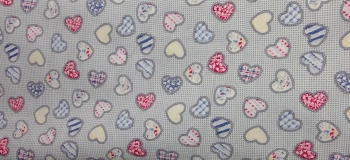 COTTON POPLIN BLUE HEARTS PATTERN