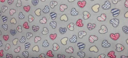 POLY-COTTON BLUE HEARTS PATTERN