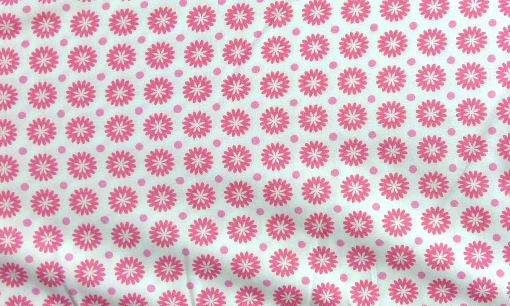 FLOWER PRINT PINK AND WHITE COTTON