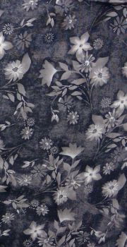 VISCOSE GREY FLOWER PRINT