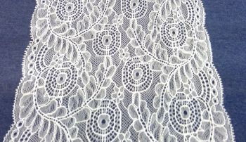 WHITE STRETCH LACE LEAF DESIGN