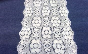 CREAM STRETCH LACE FLOWER DESIGN
