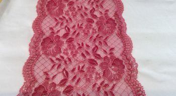 DARK CORAL STRETCH LACE