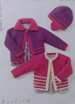 HAYFIELD CHILD`S CARDIGANS AND HAT  PATTERN 4407