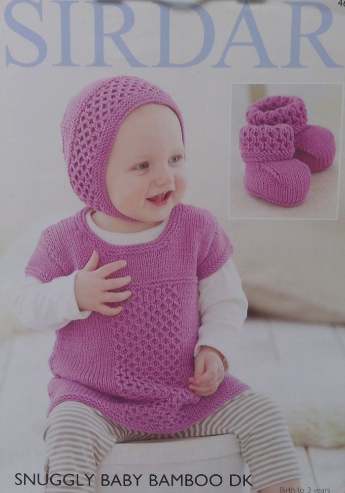 DRESS, BONNET AND BOOTEES SIRDAR 4669
