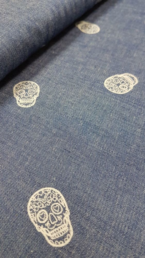 DENIM BLUE CHAMBRAY WITH SKULL PATTERN
