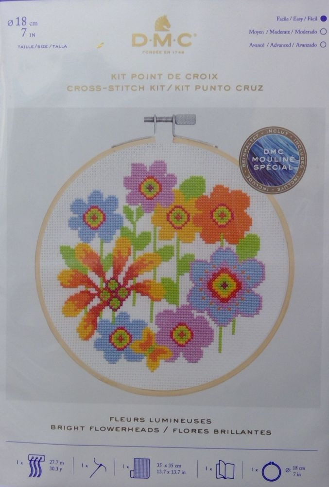 DMC 'BRIGHT FLOWERHEADS' CROSS SITCH KIT