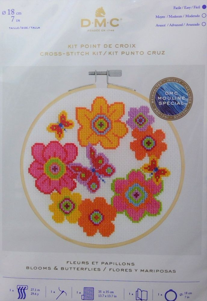DMC 'BLOOMS AND BUTTERFLIES' CROSS STITCH KIT
