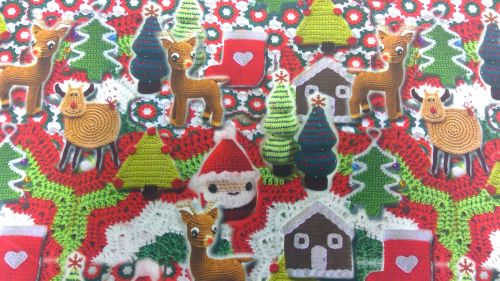 'CHRISTMAS KNITTING' CHRISTMAS FABRIC
