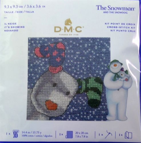 THE SNOWMAN AND THE SNOWDOG 'IT'S SNOWING' MINI CROSS STITCH KIT