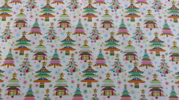 'COLOURFUL CHRISTMAS TREES' CHRISTMAS FABRIC