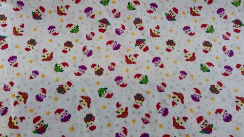 'SANTA OWLS' CHRISTMAS FABRIC