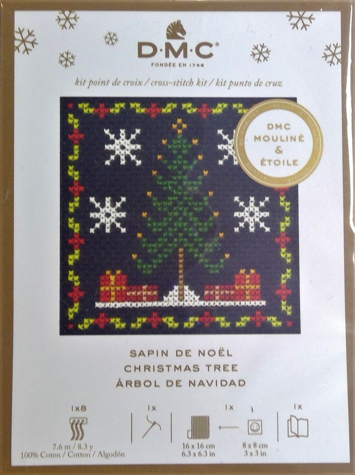 DMC 'CHRISTMAS TREE' MINI CHRISTMAS CROSS STITCH KIT