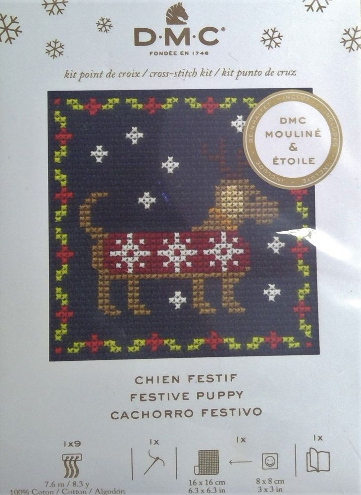 DMC MINI KITS 'FESTIVE PUPPY'