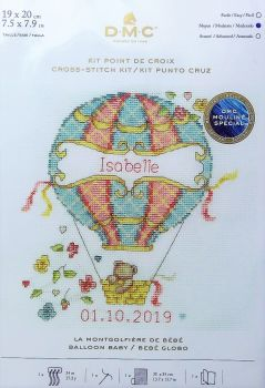 DMC CROSS STITCH BABY SAMPLER- 'BALLOON BABY'