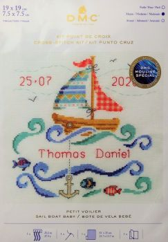 DMC CROSS STITCH BABY SAMPLER- 'SAIL BOAT BABY'