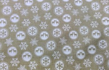 'WHITE STAG' CHRISTMAS FABRIC