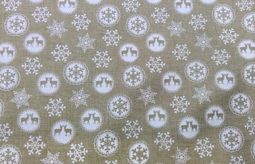 WHITE STAG CHRISTMAS FABRIC
