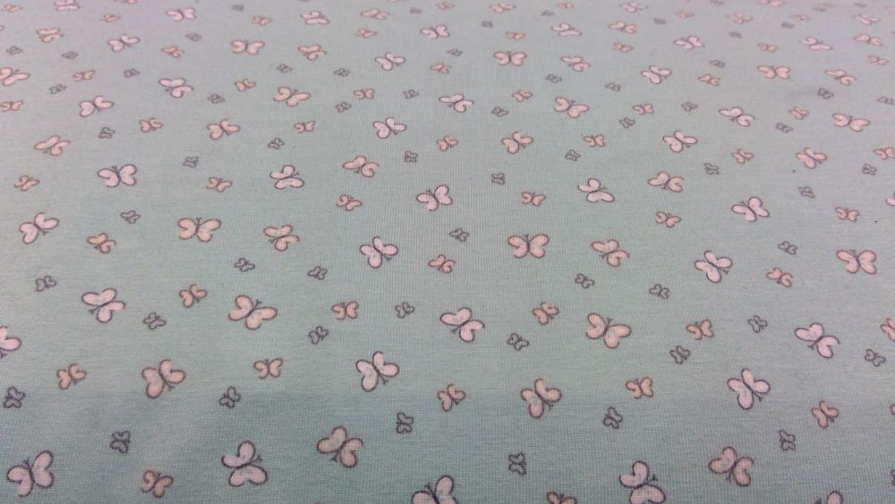 MINT BUTTERFLY JERSEY FABRIC