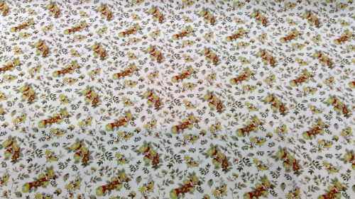 ORGANIC COTTON POPLIN- BROWN FLOWERS WITH WHITE BACKGROUND