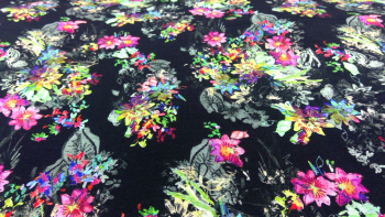 BLACK FLORAL VISCOSE STRETCH FABRIC