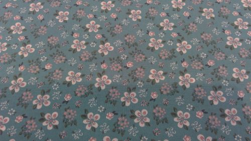 TEAL FLORAL WITH WHITE AND MAUVE FLOWERS 100% COTTON POPLIN