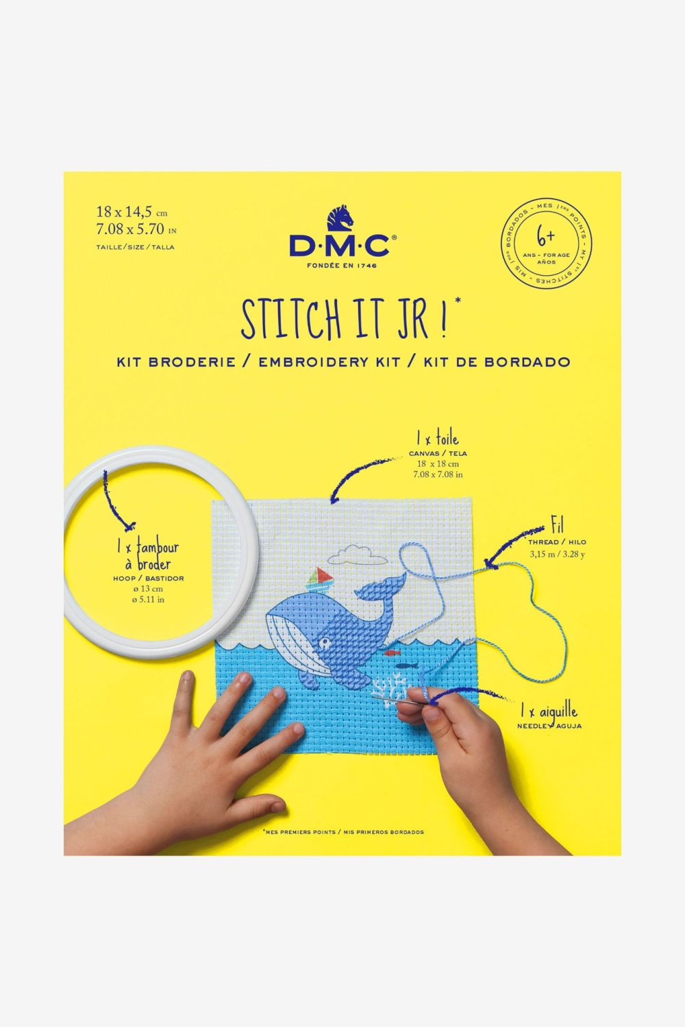 STITCH IT JR! - CHILDS EMBROIDERY KIT- WHALE