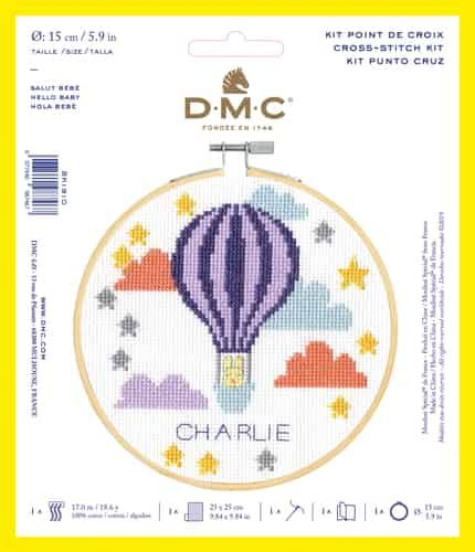 DMC CROSS-STITCH KIT WITH HOOP- 'HELLO BABY'
