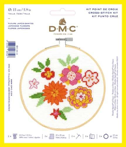 DMC CROSS-STITCH KIT WITH HOOP- 'JAPANESE FLOWERS'