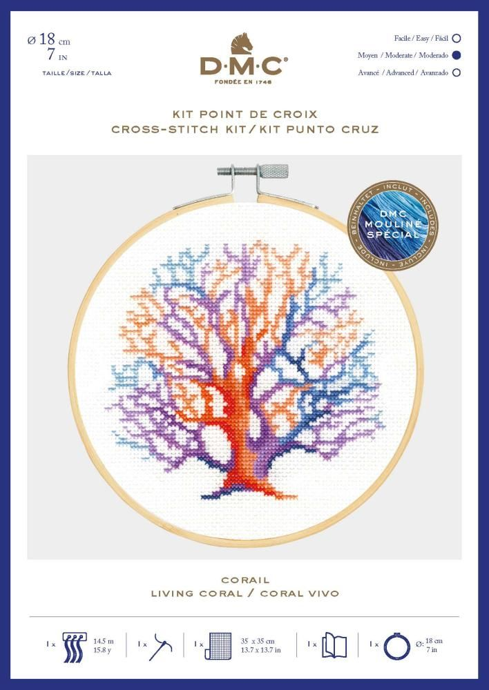 DMC OCEAN 'LIVING CORAL' CROSS STITCH KIT